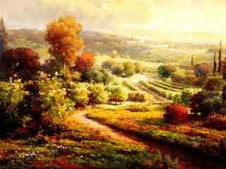 秋天的田园风景油画桌面壁纸