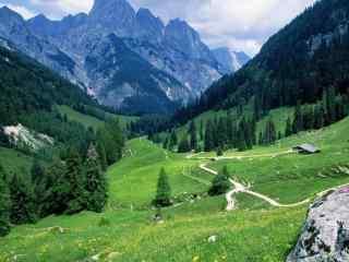绿色小清新山间田园风景图片