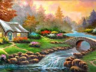 多彩的田园油画桌面壁纸