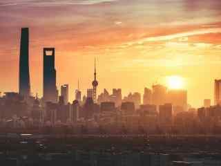 魔都上海美丽日出风景图片高清桌面壁纸