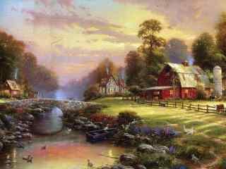好看的小镇田园风景油画桌面壁纸
