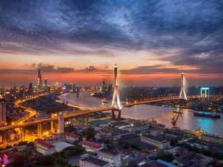上海:夕阳下的杨浦大桥威严壮阔图片