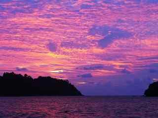绚烂的大海晚霞风景图片