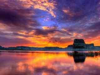 美丽的大海晚霞风景图片
