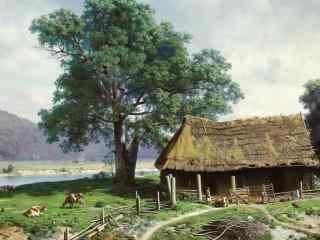 好看的乡村田园油画图片