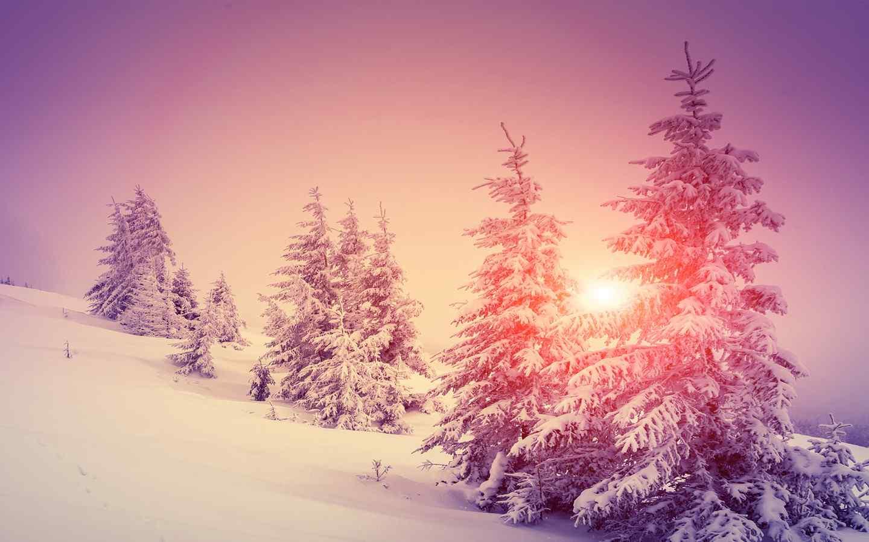 雪山上唯美的粉色日出风景图片高清桌面壁纸