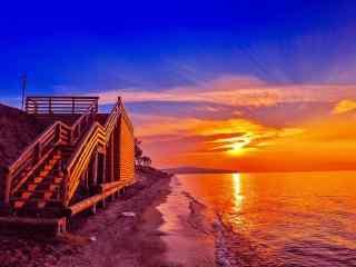 超好看的贝加尔湖夕阳图片