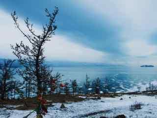 贝加尔湖冬季萧条景色图片