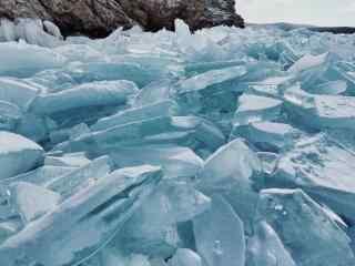 贝加尔湖冬季冰块风景图片