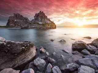 绝美贝加尔湖朝霞风景图片