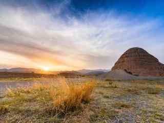 西夏王陵落日余晖风景图片