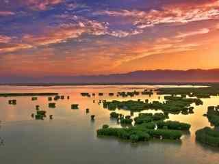 沙湖唯美粉色日出图片