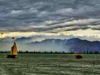 沙湖雨天景观图片