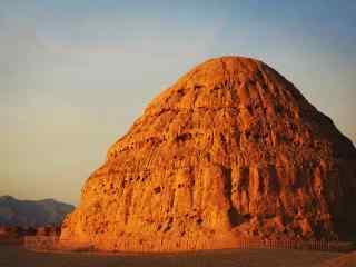 西夏王陵完整陵墓特写图片