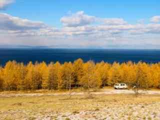 深秋唯美的贝加尔湖畔风景图片