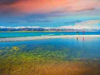 纳木错湖边唯美日落风景图片桌面壁纸