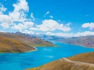 西藏羊湖蓝天白云下的碧蓝湖水风景图片