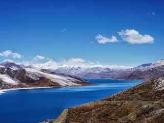 羊卓雍错唯美冬日风景图片桌面壁纸