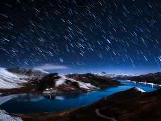 西藏羊卓雍错唯美高原夜景图片