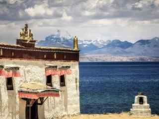 圣湖玛旁雍错周边藏区独特民房图片桌面壁纸