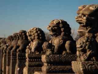 卢沟桥上的石狮子风景图片