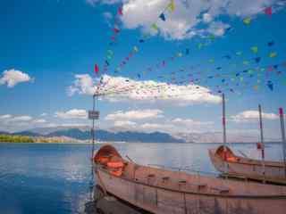 洱海小船小清新风景图片