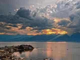 苍山洱海唯美落日风景图片