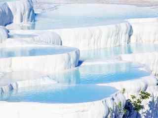 棉花堡白色岩石蓝