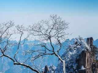 冬日黄山唯美雪景山峰图片桌面壁纸