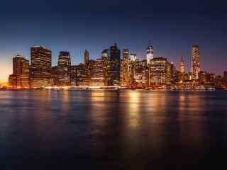城市夜景-湖面风景图片