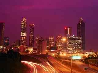 城市夜景-红色风景壁纸