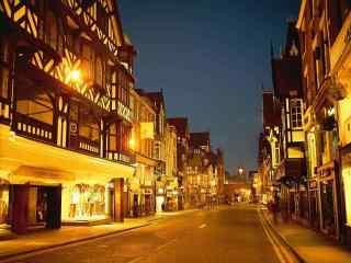 城市夜景-暖色调风景壁纸