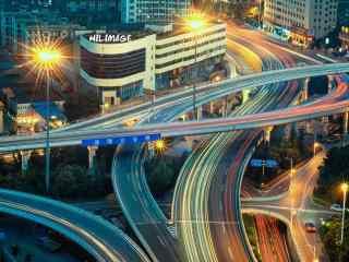 城市夜景-长沙波隆立交桥图片