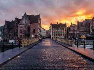 比利时小城根特街道桌面壁纸