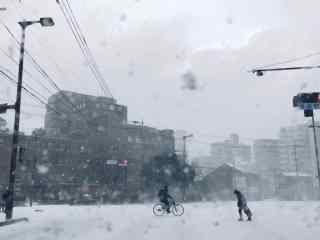 日本雪中街道模样桌面壁纸