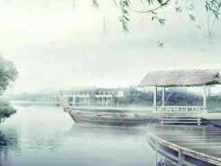 烟雨江南手绘风景