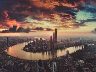 上海外滩全景摄影图桌面壁纸