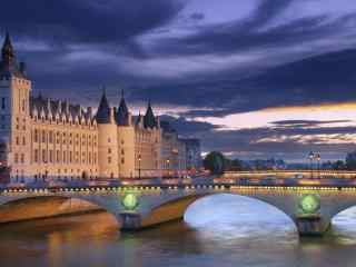 塞纳河夜景摄影图