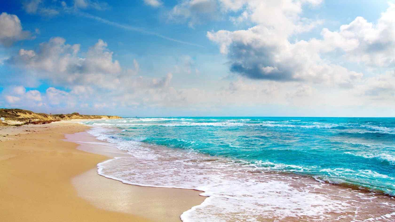 唯美大海与沙滩桌面壁纸