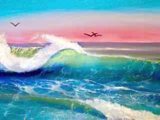 唯美海浪油画图片桌面壁纸