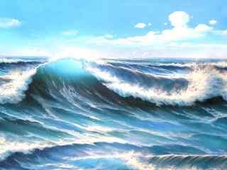 唯美的油画海浪图片桌面壁纸