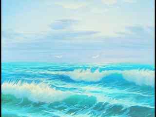 小清新海浪油画图片桌面壁纸