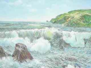 好看的油画海浪图片桌面壁纸