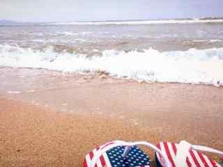 沙滩上的足迹桌面