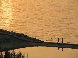 唯美夕阳下洞庭湖美景壁纸