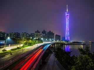 中国河流之繁华的珠江夜景图片