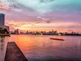 美丽晚霞下的珠江风景图片