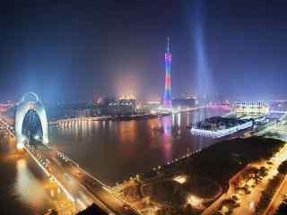灯火辉煌的珠江夜景图片壁纸