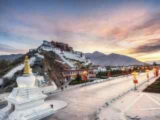 西藏拉萨圣地布达拉宫桌面壁纸