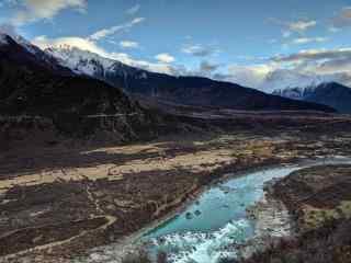 壮观的西藏拉萨山脉河流桌面壁纸